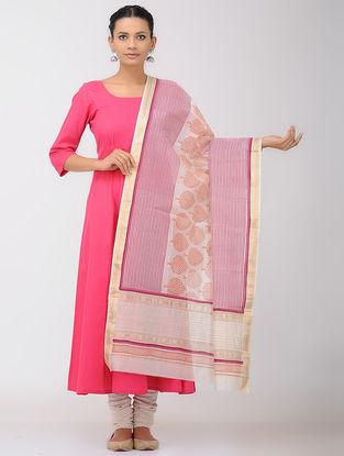 Ivory-Pink Block-printed Maheshwari Dupatta with Zari Border