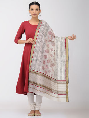 Ivory-Red Block-printed Maheshwari Dupatta with Zari Border