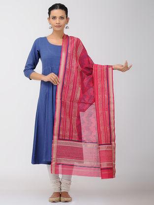 Pink-Blue Block-printed Maheshwari Dupatta with Zari Border