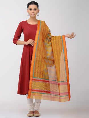 Orange-Red Block-printed Maheshwari Dupatta with Zari Border