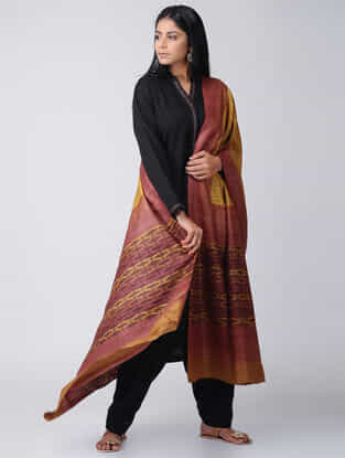 Yellow-Maroon Block-printed Tussar-Silk Dupatta