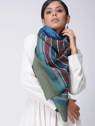 Maroon-Green Block-printed and Kantha-embroidered Tussar Silk Stole