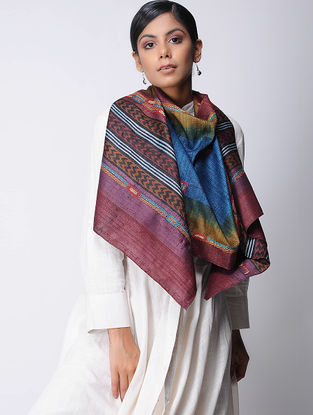 Blue-Maroon Block-printed and Kantha-embroidered Tussar Silk Stole