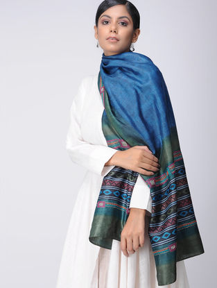 Blue-Green Block-printed and Kantha-embroidered Tussar Silk Stole