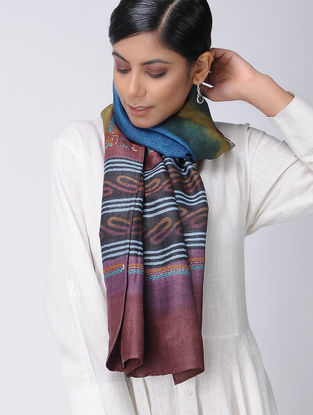 Maroon-Blue Block-printed and Kantha-embroidered Tussar Silk Stole