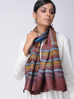 Maroon-Mustard Block-printed and Kantha-embroidered Tussar Silk Stole