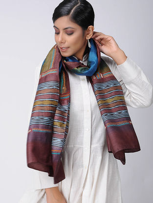 Maroon-Olive Block-printed and Kantha-embroidered Tussar Silk Stole