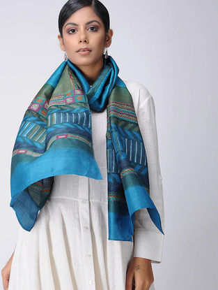 Green-Blue Block-printed and Kantha-embroidered Tussar Silk Stole