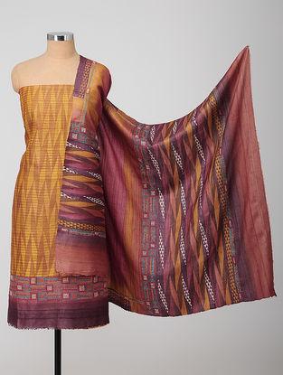 Yellow-Purple Block-printed Kantha-embroidered Kurta Fabric With Dupatta