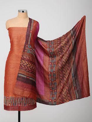 Red-Purple Block-printed Kantha-embroidered Kurta Fabric With Dupatta