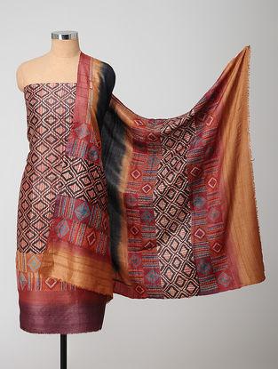 Black-Red Block-printed Kantha-embroidered Kurta Fabric With Dupatta