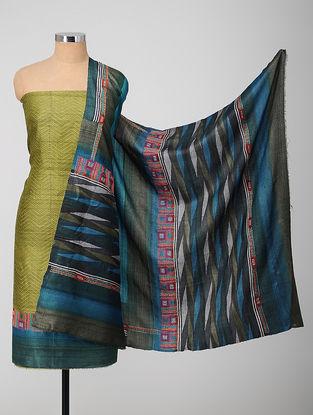 Green-Blue Block-printed Kantha-embroidered Kurta Fabric With Dupatta