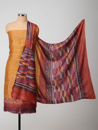 Yellow-Red Block-printed Kantha-embroidered Kurta Fabric With Dupatta