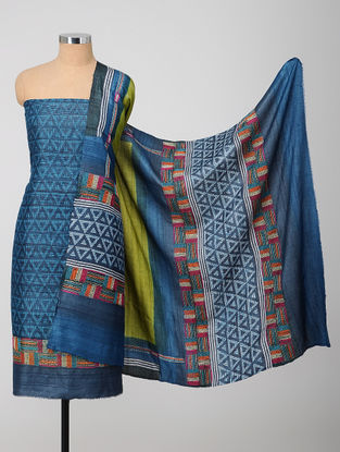 Blue-Green Block-printed Kantha-embroidered Kurta Fabric With Dupatta