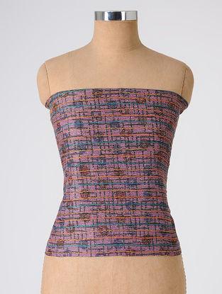 Purple-Blue Block-printed and Kantha-embroidered Tussar Silk Blouse Fabric