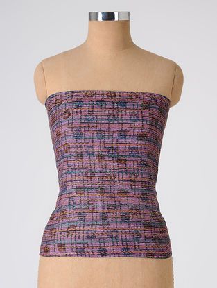 Purple-Maroon Block-printed and Kantha-embroidered Tussar Silk Blouse Fabric