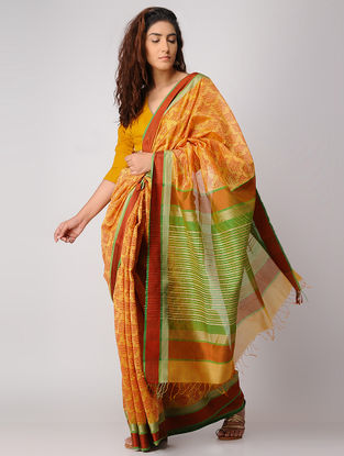 Orange-Green Block-printed Maheshwari Saree with Zari