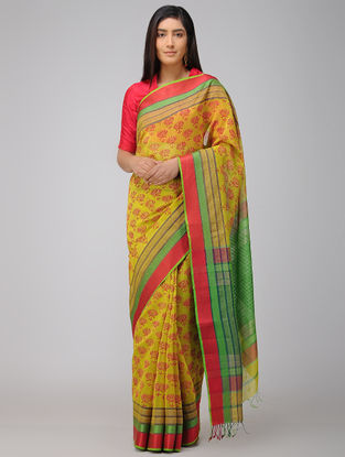 Yellow-Green Block-printed Maheshwari Saree with Woven Border