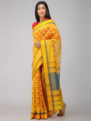 Yellow-Blue Block-printed Maheshwari Saree