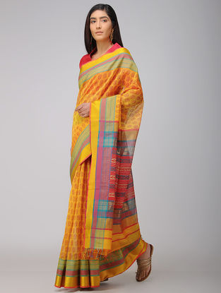 Yellow-Coral Block-printed Maheshwari Saree with Zari