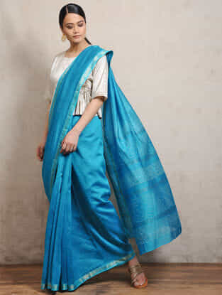 Blue Chunari Block-printed Silk Cotton Maheshwari Saree