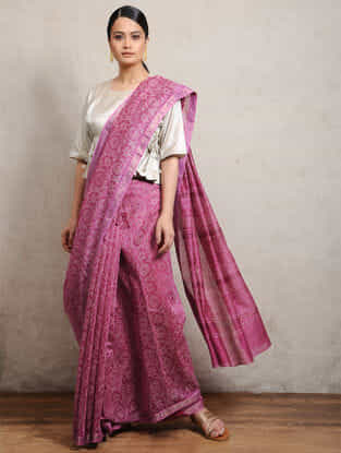 Pink Chunari Block-printed Silk Cotton Maheshwari Saree