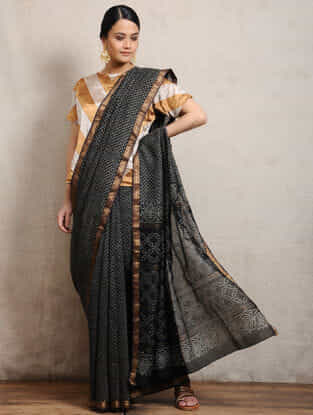 Black Chunari Block-printed Silk Cotton Maheshwari Saree
