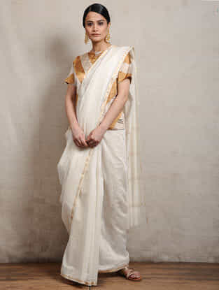 Ivory Chunari Block-printed Silk Cotton Maheshwari Saree