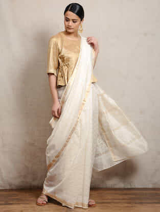 Ivory Khari Block-printed Silk Cotton Maheshwari Saree