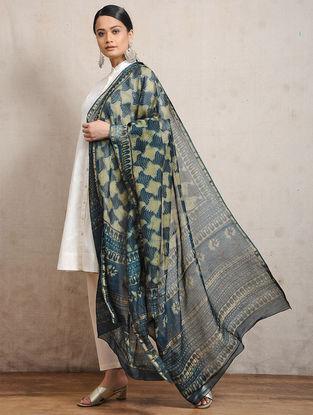 Indigo Ajrakh-printed Silk Cotton Maheshwari Dupatta