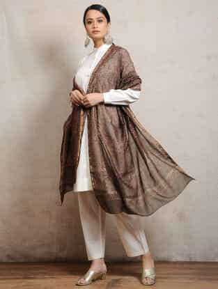 Brown Ajrakh-printed Silk Cotton Maheshwari Dupatta