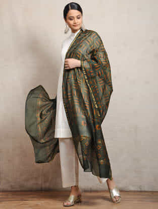 Green Ajrakh-printed Silk Cotton Maheshwari Dupatta