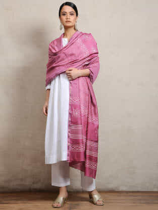 Pink Block-printed Silk Cotton Maheshwari Dupatta