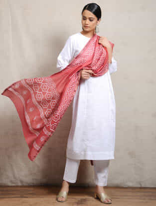 Red Block-printed Silk Cotton Maheshwari Dupatta
