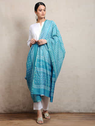 Blue Block-printed Silk Cotton Maheshwari Dupatta