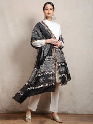 Black Block-printed Silk Cotton Maheshwari Dupatta