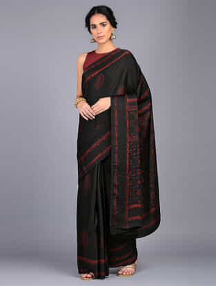 Black-Red Block Printed Modal Silk Saree