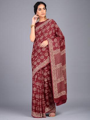 Red-Ivory Block Printed Modal Silk Saree