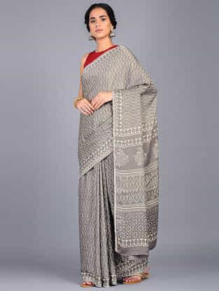 Grey-Ivory Block Printed Modal Silk Saree