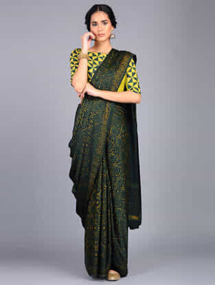Green-Yellow Block Printed Modal Silk Saree