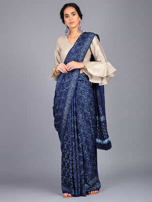 Blue-Ivory Block Printed Modal Silk Saree