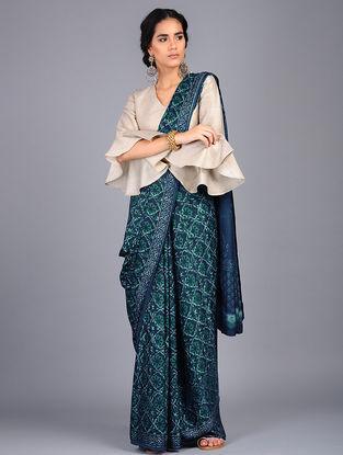 Blue-Green Block Printed Modal Silk Saree