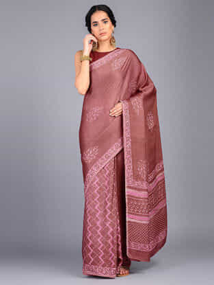 Pink-Ivory Block Printed Modal Silk Saree