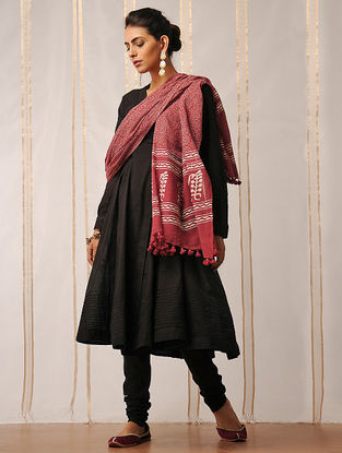 Red-Ivory Block-printed Cotton Dupatta by Jaypore