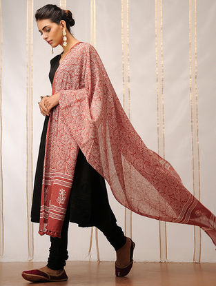 Rust-Ivory Block-printed Cotton Dupatta by Jaypore