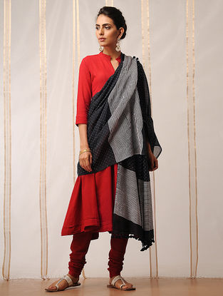 Black-Ivory Block-printed Cotton Dupatta by Jaypore