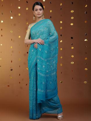 Blue-Gold Khari-printed Chiffon Saree