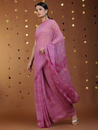 Pink-Gold Khari-printed Chiffon Saree