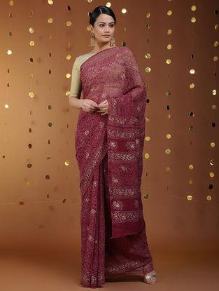 Red-Gold Khari-printed Chiffon Saree