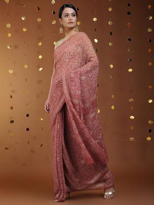 Rust-Gold Khari-printed Chiffon Saree